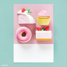 Sweet desserts on a colorful card   free image by rawpixel.com