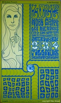 Wes Wilson, Love, Moby Grape, Lee Michaels, 1966