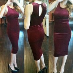 Burgundy Velvet Dress stretchy body hugging NEW! Beautiful Velvet sexy dress! Fabric has nice stretch. .mid length. . Perfect for office party!  Naught and nice! No trades **made in USA! Sizes SMALL, MEDIUM, Large available. .comment and I'll make you a listing boutique  Dresses Midi