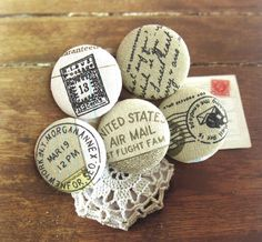 Handmade Fabric Buttons  Large Beige Brown Airmail by RetroNaNa, $7.50