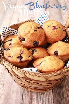 Vegan Blueberry Muffins. Deliciously moist and perfectly sweet! #vegan #lovingitvegan #muffins #blueberrymuffins #breakfast