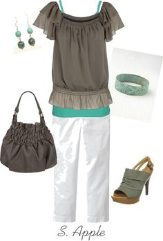 """Grey and Turquoise Green"" by sapple324 on Polyvore"