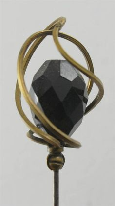 "Antique Black Faceted Glass Hat Pin 11 1/2"" Brass Metal VTG Hatpin Abstract Cage"