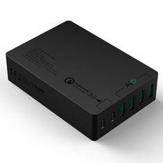 AUKEY Quick Charge 3.0 USB C Cargador de Red, 4* USB A con Tecnología AiPower & 2* USB C con Tecnología Quick Charge 3.0, 60W USB Cargador para LG G5, HTC 10, Nexus 6P, Nexus 5X y otros Teléfono Inteligentes y Tabletas (Incluido Cable USB-C a USB-C de 3ft): Amazon.es: Electrónica