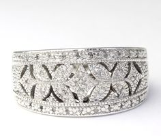Diamond Encrusted Filigree Wide Band Sterling Silver Ring size 7.5 #Band
