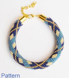 Blue Tartan - beaded crochet rope pattern - diy bracelet - geometric pattern - seed bead bracelet (6.50 EUR) by Calliphorabeads