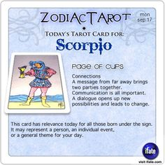 Daily tarot card for Scorpio from ZodiacTarot! The I Ching is an ancient form of divination from China.  You can do a free reading here right now.    Visit iFate.com today!