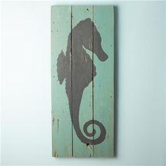 Seahorse Silhouette Plank Wall Art Panel