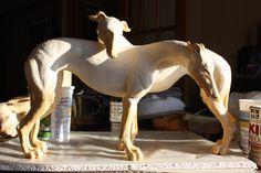 Two Greyhounds Sarah Regan Snavely clay sculpture