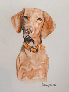 I painted a picture of Riley the #Vizsla today. :)