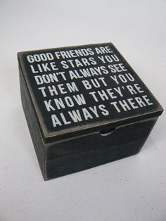 Primitives by Kathy Good Friends Are Like Stars Quote Wood Box Sign W/Lid P18192 #PrimativesByKathy #Novelty