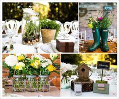 mariage rustique centre de table mini serre terrarium nichoir botte caoutchouc cagette en fer