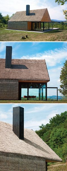 12 Examples Of Modern Houses And Buildings That Have A Thatched Roof // A dilapidated farmers cottage was restored and updated with modern timber cladding, and while the traditional straw walls and roof to pay tribute to the original structure and historical site.