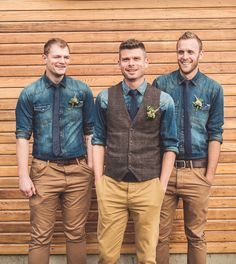 Rustic Unintentional Americana Tipi Wedding Cowboy Groom Tweed Waistocoat Chinos Tan Denim Shirts http://www.georgimabee.com/