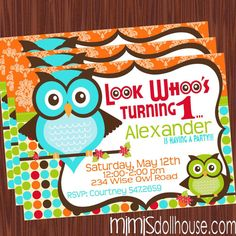 Owl Invitation Printable Owl Birthday Invitation by MimisDollhouse, $12.99