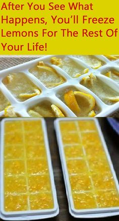 Freezing Lemons in Ice Cube Trays Lemon peels contain 5 to 10 times more vitamin than the juice itself, and it's very healthy. Here are some health benefits of freezing lemons! Healthy Fruits, Healthy Drinks, Healthy Food, Nutrition Drinks, Freezing Lemons, Freezing Fruit, Keto Recipes, Healthy Recipes, Drink Recipes