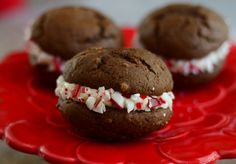 If you like peppermint and chocolate, you'll love this indulgent whoopie pies recipe, which combines those two flavors into one wonderful holiday dessert.