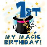 Magic theme 1st birthday Tshirts, bodysuits, cards, postage stamps, magnets, and other 1st birthday apparel and gifts for baby's first birthday with a magic theme featuring a top hat with white rabbit and magic wand.
