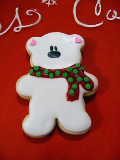 Polar Bear Cookie; change to brown bear with pink/blue scarf for shower.