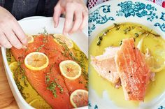The Most Delicious And Foolproof Way To Cook Salmon - 300 degree oven for 25 mins. Thinking of marinating in soy, honey, ginger, & garlic and using veg oil and toasted sesame oil. Lemon Recipes, Fish Recipes, Seafood Recipes, Paleo Recipes, Dinner Recipes, Cooking Recipes, What's Cooking, Seafood Meals, Cooking Light