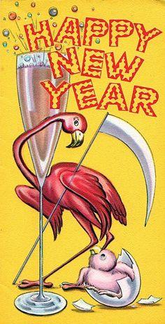 Vintage New Years flamingo New Year Greeting Cards, New Year Greetings, New Year Card, Vintage Greeting Cards, Vintage Postcards, Vintage Happy New Year, Happy New Year 2019, Vintage Holiday, Snoopy Christmas