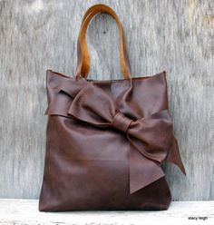 Chocolate Brown Bow Tote Bag in Distressed Matte Brown Leather by Stacy Leigh