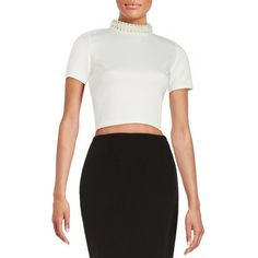 Design Lab Lord & Taylor Beaded Crop Top ($38) ❤ liked on Polyvore featuring tops, ivory, short sleeve tops, beaded top, spandex tops, white short sleeve top and ivory crop top