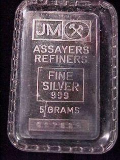 RARE Johnson Matthey 5 Gram 999 Fine Silver Bar Ingot JM Priced 2 Sell   eBay