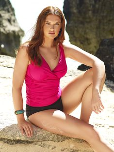 ae06fb6ffca Anne Cole Women's Plus Size Live In Color Over The Shoulder Twist Front Underwire  Tankini Swim Top