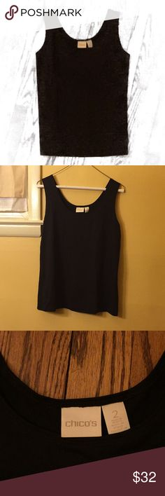 Black Chico's Top Silky black Chico's tank top. Sleek and stylish, perfect for work. EUC like new condition. Chico's Tops