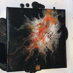 Dutch pour technique using black, white, sterling silver, fire red, chrome orange and flouredcent yellow orange. #fluidart #fluidpainting #acrylicpouring #dutchpour Acrylic Pouring Art, Acrylic Art, Acrylic Nails, Abstract Wall Art, Tattoo Abstract, Abstract Portrait, Abstract Shapes, Abstract Sculpture, Painting Abstract