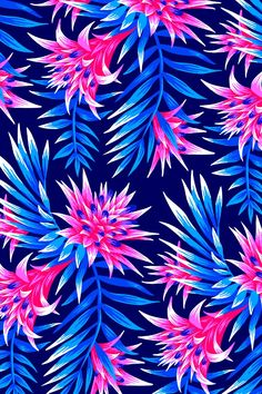 Tropical floral print design inspired by the beautiful flowers of the Aechmea Fasciata plant. Floral, pattern, flowers, pink...