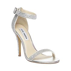 Touch Ups Silver Rhinestone Strappy Low Heels Womens Bridal ...