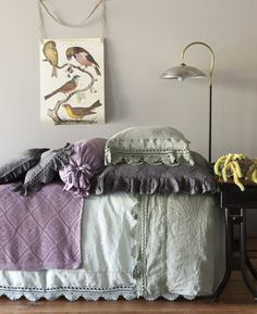 Linen+Crochet+Lace+Bed+in+Seaglass,Cypress++Graphite+Children's/Adult+Bedding+by+Bella+Notte+Linens