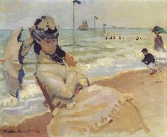 Camille on the Beach at Trouville 1870 Claude Monet