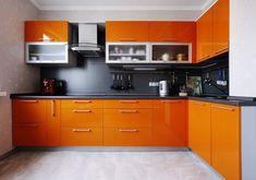 Orange Kitchen, Cabinet Decor, Interior Design Kitchen, Countertops, Picture Frames, Kitchen Cabinets, Home Decor, Design Ideas, Kitchen Design