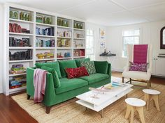 Green velvet IKEA sofa, built-in bookshelves, and it was all designed by her Mom! #hgtvmagazine http://www.hgtv.com/decorating-basics/decorated-by-mom-with-love/pictures/page-3.html?soc=pinterest