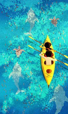 "Kayak Painting, Ocean Painting, Ocean Art, Dolphin Painting - ""Secrets of the Sea"" - Art Print 13x19"
