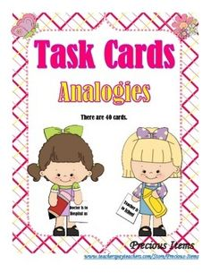 Students will complete the task cards on analogies.  The cards can be used as a review.  Place the cards in your literacy stations so students can work on them independently.  There are 40 cards, plus a cover and direction card.An answer key is provided.