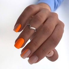 60 Elegant Matte Short Square Nails Design Ideas To Try - - Matte nails design, matte square nails, Square Nail Designs, Short Nail Designs, Fall Nail Designs, Art Designs, Orange Nail Designs, Design Ideas, Acrylic Nails Natural, Cute Acrylic Nails, Cute Nails