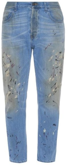Gucci's straight-leg cotton-denim 1953 jeans have a  vintage-style light-blue wash, but are given a contemporary twist with hand-applied paint splatters in white, black and red. They have a classic five-pocket design with generous fading and whiskering providing a worn-in finish. Brand: Gucci Retailer: MATCHESFASHION.COM Similar Item Here  Price : 716.00$