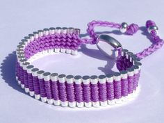 $19.99 Link Friendship Bracelet. Silver Plated with Woven Purple/Lilac Macrame. (Similar to Links of London Brand)