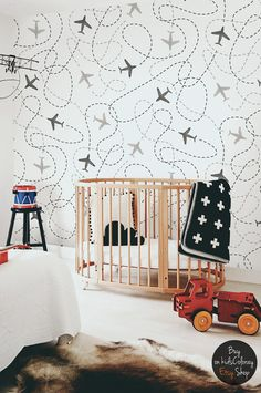 Removable wallpaper, Kids wall mural, Nursery, Baby wallpaper, Airplanes pattern, White wallpaper, Peel and stick #8