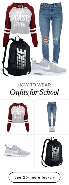 School sports day by streberka on Polyvore featuring WithChic, Levis and NIKE