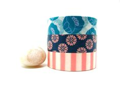 Teal, Blue, Pink Tulips and Stripes Japanese Washi Tapes