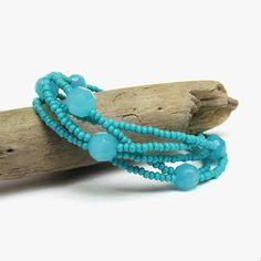 Turquoise boho bracelet, Multi-strand seed bead bracelet, Light blue crystal jewelry, Aqua blue bracelet, Summer beach layering jewellery