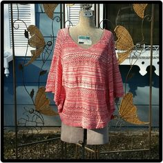 Maurices Sweater Top This sweater top is from Maurices. orange /salmon colored with white. Striped. Excellent condition. Maurices Tops
