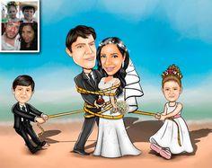 Caricaturas digitais, desenhos animados, ilustração, caricatura realista: Desenho de Família !