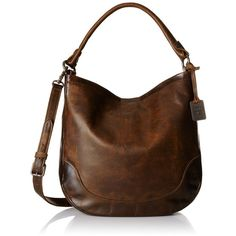 Frye Melissa Hobo Bag ($388) ❤ liked on Polyvore featuring bags, handbags, shoulder bags, brown hobo purse, brown handbags, antique handbags, shoulder strap purses and brown purse