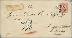 "(1877), the first Bavarian. Registration label ""registered no. "" as forerunner of the R slip of paper ""from foreign country over. . . "" used on Hungaria postal stationery 5 Kr. with reverse additional franking 10 Kr. blue as registered to Burgwindheim by Bamberg. Envelope slight custom traces, very rare!    Dealer  Rauhut & Kruschel Stamp auction    Auction  Minimum Bid:  200.00 EUR"